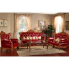 Sofá de couro de madeira para mobília da sala de visitas (506A)