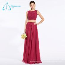 Lace Sequined Beading Chiffon Rouge Chine robes de demoiselle d'honneur