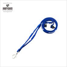OEM de alta qualidade novo design azul tubular pescoço impressão cordão com mosquetão
