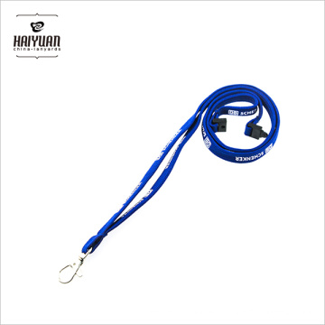 OEM High Quality New Design Blue Tubular Neck Printing Lanyard with Carabiner