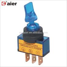 Пло-14Д 20А 12В ОДНОПОЛЮСНОЕ 3-Контактный на-тумблер лампы 3-Штекерн. синий
