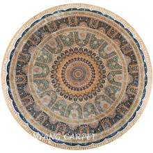 11.2'x11.2' Large Size Round Handmade Persian Silk Rug
