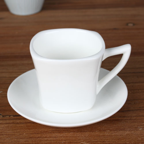 square 6 oz cup and saucer
