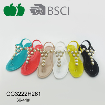 Popular Pvc Ladies Fashion Crystal Sandal