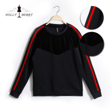 Sweatshirt Women Velour Black Red Anti-wrinkle Autumn Women Crewneck Sweatshirt