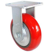EH07 Fixed PU on Cast Iron Caster (Bright Red)