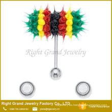 Moda fábrica precio 14G acero quirúrgico de silicona vibrante lengua barbell anillo