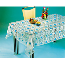 PVC Table Cloth Plastic Transparent, Vinyl Material and Square Shape, PVC Clear Printed Tablecover