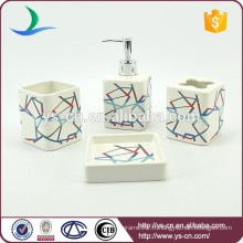 4pcs quadrillé rayures colorées ensemble de toilette pour salle de bain en céramique pour décoration