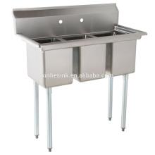 Fregadero de compartimento de acero inoxidable comercial de tres cuencos para cocina de restaurante de EE. UU.