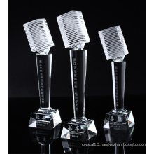 Crystal Microphone Trophy for Music Competition Souvenir