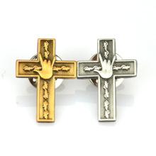 Usine production personnalisée placage antique or argent 3D logo croix revers épinglette