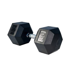 80LB Black Rubber Hex Dumbbell