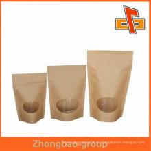Bolsas de papel kraft marrón biodegradables con refuerzo inferior, ziplock o tipo de refuerzo lateral