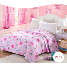 Pink Color Printing Quilt 100% Polyester Quilt Cheap Quilt F1880