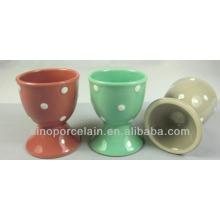 Coupe d'oeuf en céramique / tasse de vin avec des points de polka pour BS140305B