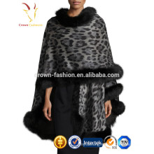 Girls Cashmere Shawls With Fox Fur Trimming