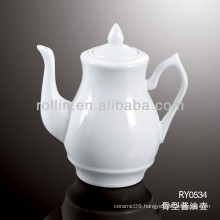 healthy durable white porcelain oven safe gravy boat with lid