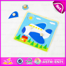 2015 New and Popular Kids Wooden Puzzle Game Toy, Airplane Deisgn Children Wooden Puzzle Toy, Wooden Toy Puzzle with Knobs W14m068