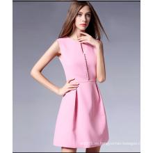 Vestido sin mangas del poliéster de la moda de las nuevas mujeres del diseño 2016