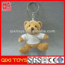 Atacado Pequeno T-shirt Presente Macio Stuffed Toy Plush Teddy Bear Anel Chave