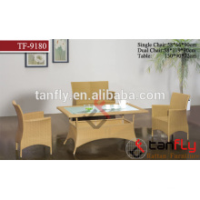 Outdoor stock furniture green PE rattan hot design dining set