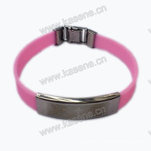 Stylish Bright Rubber Bracelet for Men with Stainless Steel Cross