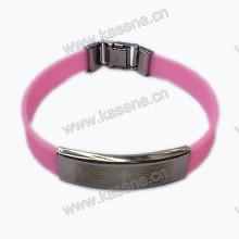 Стильный яркий резиновый браслет для мужчин с крестом из нержавеющей стали