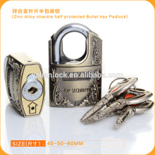 Popular Safe Zinc Alloy Shackle Half Protected Bullet Key Padlock