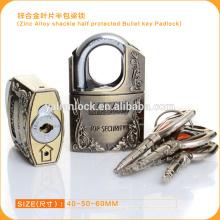 Популярный безопасный сплав цинкового сплава Halfed Protected Bullet Key Padlock