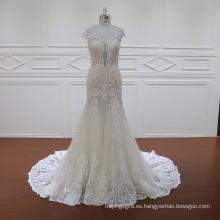 Vestido de dama de honor de doble capa con vestido de novia de manga larga