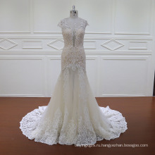 Cap Рукавом Двойной Слой Свадебное Платье Невесты Платье