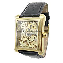 Nizza Gold Skeleton Mechanische Uhren für Männer Square Case