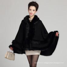 Lady Fashion Hooded Acrylic Knitted Fur Winter Shawl (YKY4467)