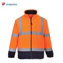 100% Polyester Salut doux polaire sécurité au travail ANSI réfléchissant 3 zip veste