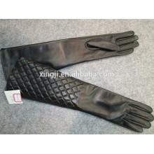luvas do dedo do woment da qualidade superior luvas de couro longas da pele de carneiro