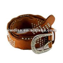 Cinturón de cuero genuino de la manera de los Rhinestones de la señora