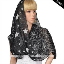 Женская мода бесконечность вуаль шарф двойной слой шарф со звездами и кружева печати