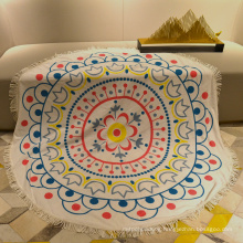 print towel fabric poncho with  tassel