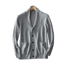 Suéter de punto de cachemira 100% puro de los hombres cuello de cobertura cuello único breasted mangas largas gruesas chaquetas de punto calientes