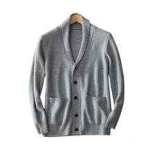 100% pur cardigan en cachemire hommes turndown collier à manches longues à manches longues cardigans chauds épais