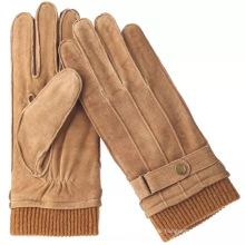 Außennaht Fersenfarbener Handschuh aus Wildleder