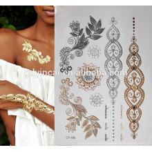 Adesivo de tatuagem temporária de mão de folha de ouro
