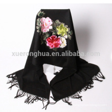 Hochwertige schwarze Hand bestickten Blumenmuster Kaschmir-Schal
