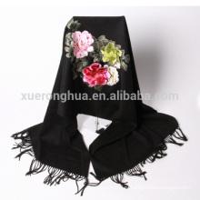 Высокое качество черный ручной вышивкой цветочный узор кашемир шаль