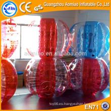 Nueva bola diseñada del zorb del cuerpo del color de la mitad, bola de despedida inflable mitad roja / azul bola de parachoques