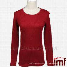 Camisola de malha de malha de malha de costura vermelha das mulheres