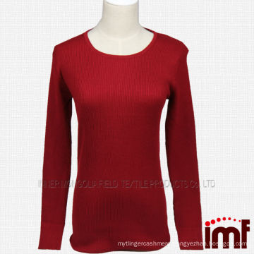 Women's Red Rib Knitted Cashmere Sweater