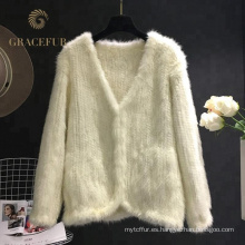 Acepta el abrigo de pieles de visón real para mujer de encargo