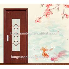 Diseños de puerta de madera única para puerta de diseño de baño, puerta de madera de diseño de vidrio